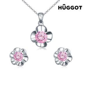 Σετ με επίστρωση Ροδίου  Κολιέ και Σκουλαρίκια με Ζιργκόν Pink Flower  Hûggot (45 εκ.) ce3b86aaaad